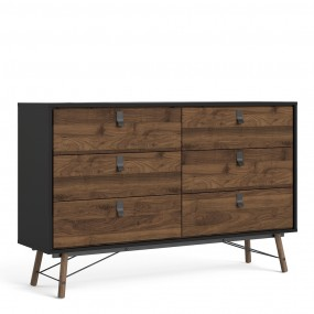 Ry Wide double chest of drawers 6 drawers in Matt Black Walnut