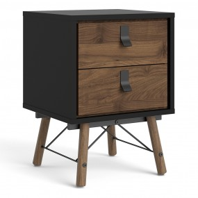 Ry Bedside cabinet 2 drawer in Matt Black Walnut