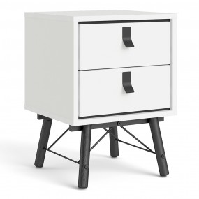 Ry Bedside cabinet 2 drawer in Matt White