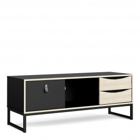 Stubbe TV Unit 1+2 drawers and open shelf in Matt Black Oak