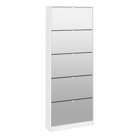 Shoes Shoe cabinet 5 Mirror tilting Doors in White