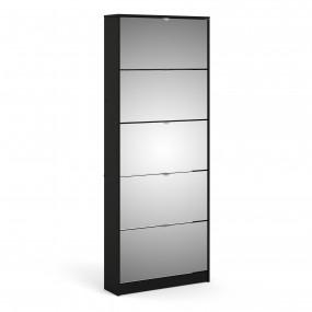 Shoes Shoe cabinet 5 Mirror tilting Doors in Black