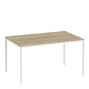 Family Dining Table 140cm Oak Table Top with White Legs