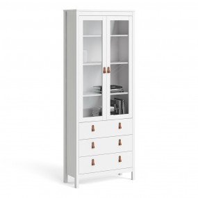 Barcelona China cabinet 2 doors w/glass + 3 drawers in White