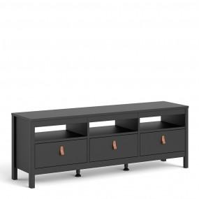 Barcelona Tv-unit 3 drawers in Matt Black
