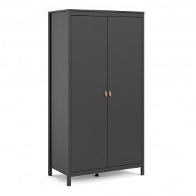 Barcelona Wardrobe with 2 doors in Matt Black