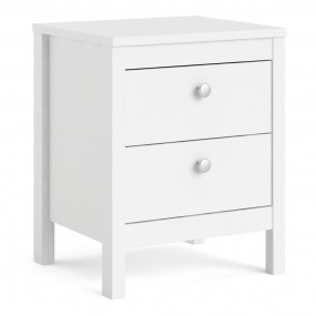 Madrid Bedside Table 2 drawers in White