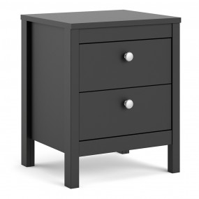 Madrid Bedside Table 2 drawers in Matt Black