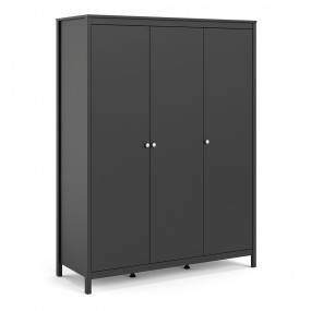 Madrid Wardrobe with 3 doors in Matt Black