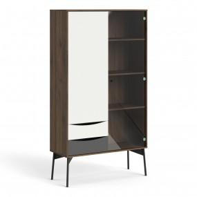 Fur China Cabinet 1 door + 1 Glass Door + 2 Drawers in Grey, White and Walnut