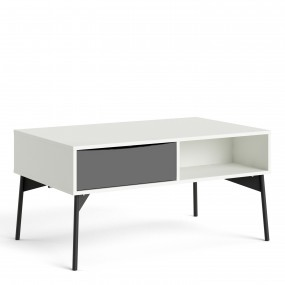 Fur Coffee table with 1 Drawer in Grey and White