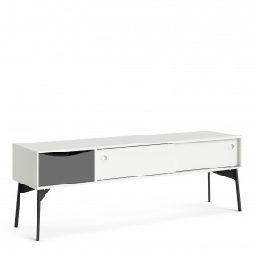 Fur TV-Unit 2 sliding Doors + 1 Drawer in Grey and White