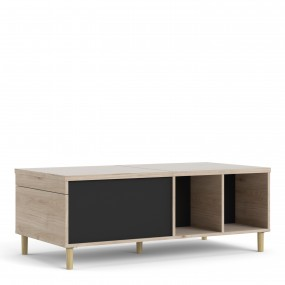 Rome Coffee Table with sliding top in Jackson Hickory Oak with Matt Black
