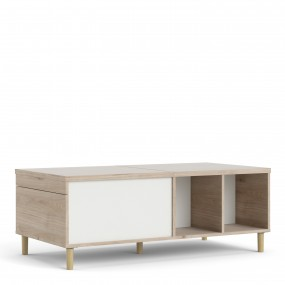Rome Coffee Table with sliding top in Jackson Hickory Oak with Matt White