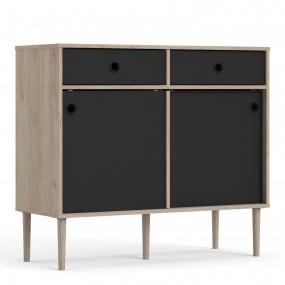 Rome Sideboard 2 Sliding Doors + 2 Drawers in Jackson Hickory Oak with Matt Black