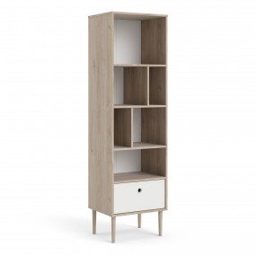 Rome Bookcase with 1 Drawer in Jackson Hickory Oak with Matt White